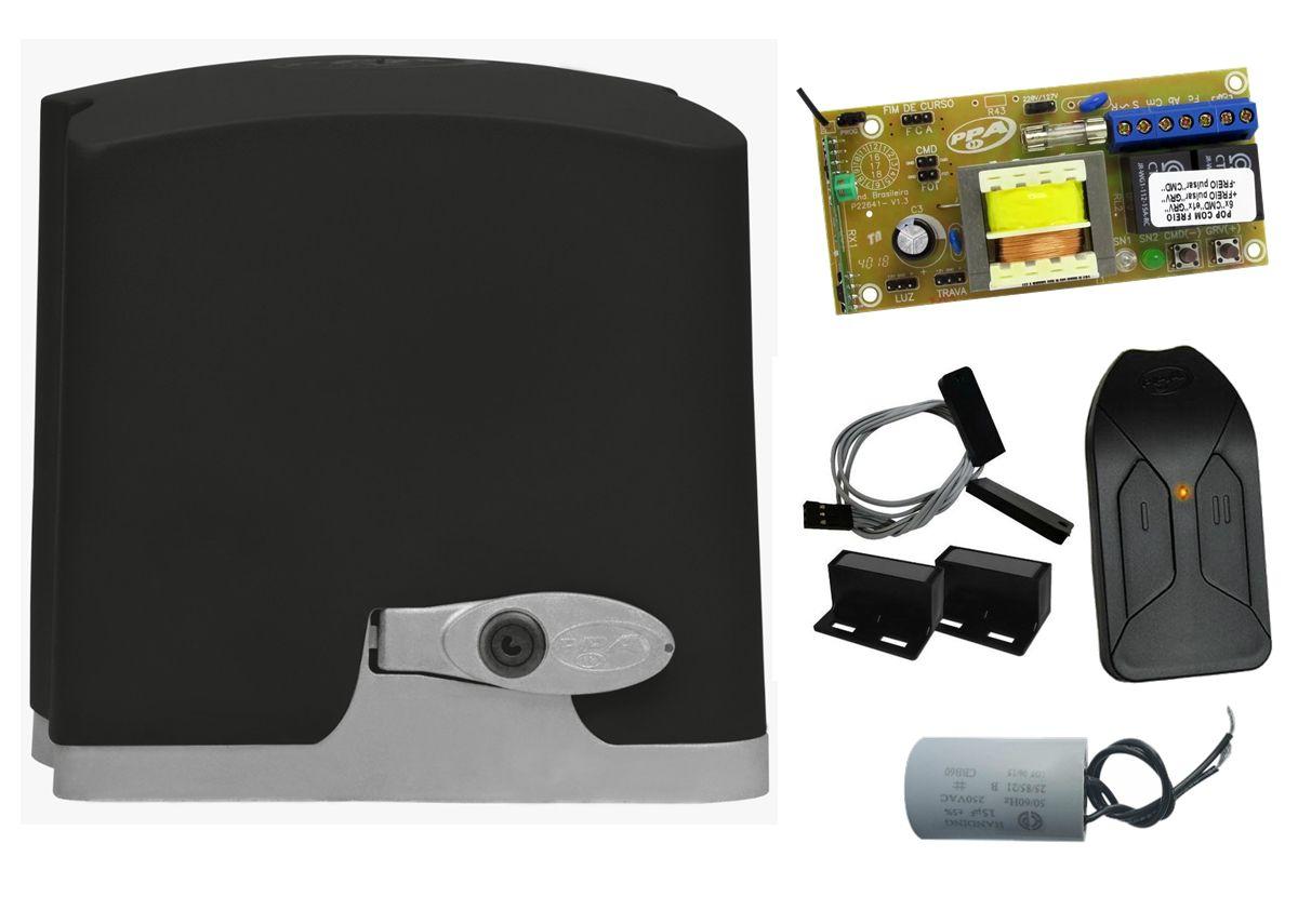 Conjunto automatizador portão de correr DZ Rio turbo KL custom analógico 1/4 hp PPA