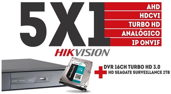 Dvr Hikvision 16ch Turbo Hd 3.0 Pentaflex 5x1 720p + Hd 2tb  - Esferatronic Comercio e Distribuição