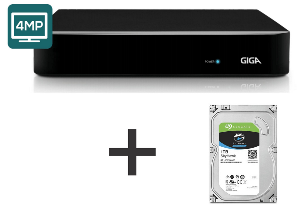 Dvr Hvr 4 Canais Giga Security GS04OPEN4MI21TB 4mp Ultra HD 2k, 5 em 1 - HDCVI, HDTVI, AHD, CVBS, IP + HD Skyhawk 1TB