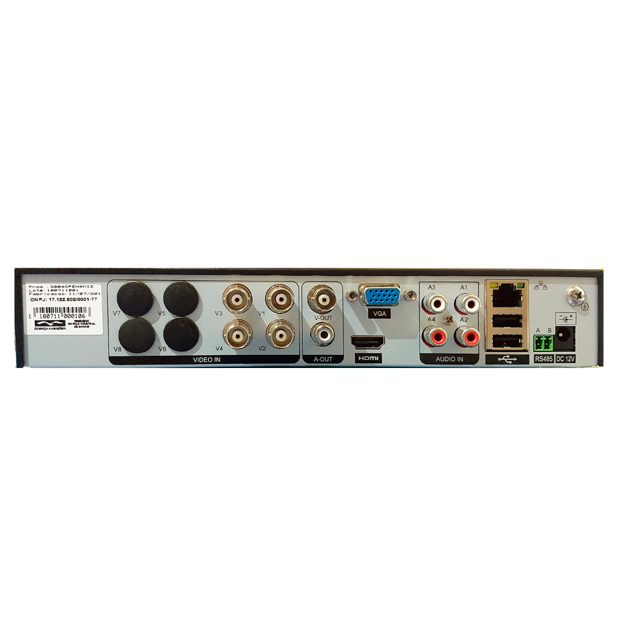 Dvr Hvr 4 Canais Giga Security GS04OPEN4MI21TB 4mp Ultra HD 2k, 5 em 1 - HDCVI, HDTVI, AHD, CVBS, IP + HD Skyhawk 1TB
