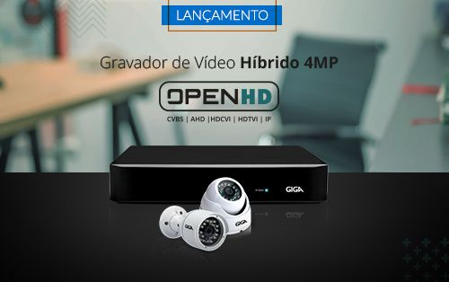 Dvr Hvr 8 Canais Giga Security GS08OPEN4MI21TB 4mp Ultra HD 2k, 5 em 1 - HDCVI, HDTVI, AHD, CVBS, IP + HD Skyhawk 1TB