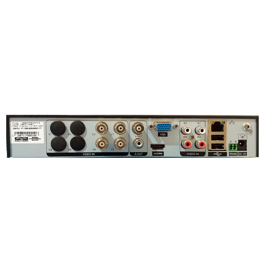 DVR Stand Alone 4 Canais Giga Híbrido série Orion 5 Megapixel H265+ GS0190