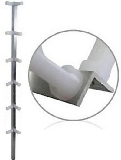 Haste cantoneira de alumínio com 12 isoladores para cerca elétrica - Confiseg