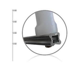 Haste de aluminio para cerca elétrica com 4 isoladores