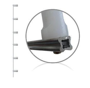 Haste de aluminio para cerca elétrica com 6 isoladores - Confiseg