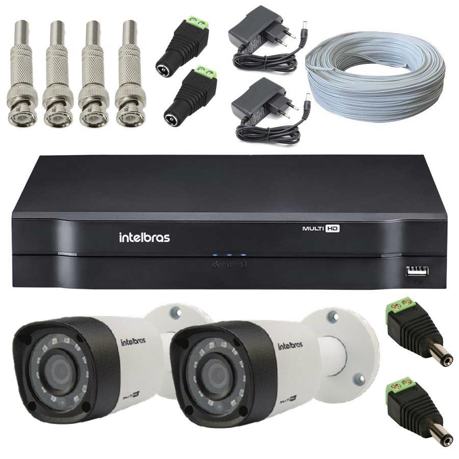 Kit 2 Câmeras de Segurança Bullet Multi HD Intelbras VHD1010 G4 + DVR Intelbras 4 canais MHDX1004 + Acessórios