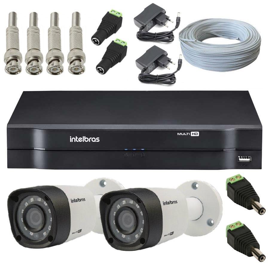 Kit 2 Câmeras de Segurança Bullet Multi HD Intelbras VHD1010 G4 + DVR Intelbras 8 canais MHDX1008 + Acessórios