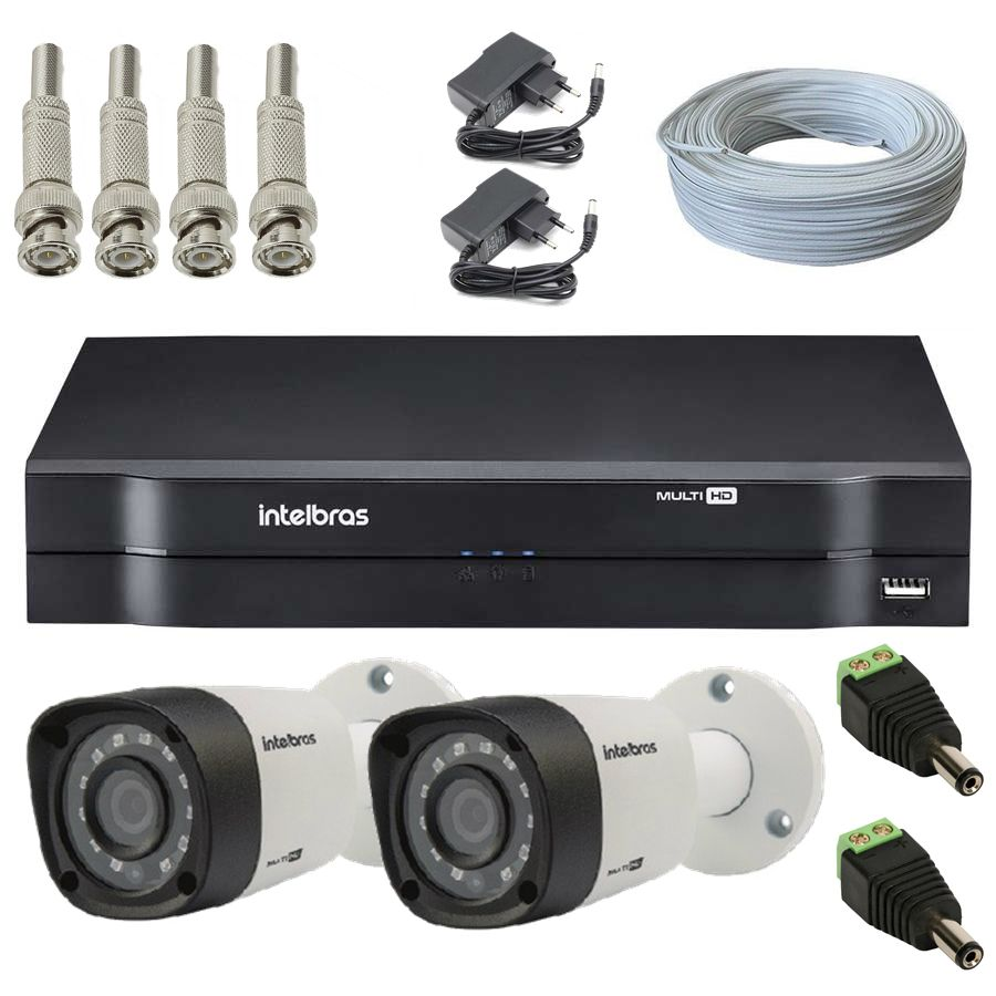 Kit 2 Câmeras de Segurança Bullet Multi HD Intelbras VHD1010 G4 + DVR Intelbras MHDX1016 + Acessórios