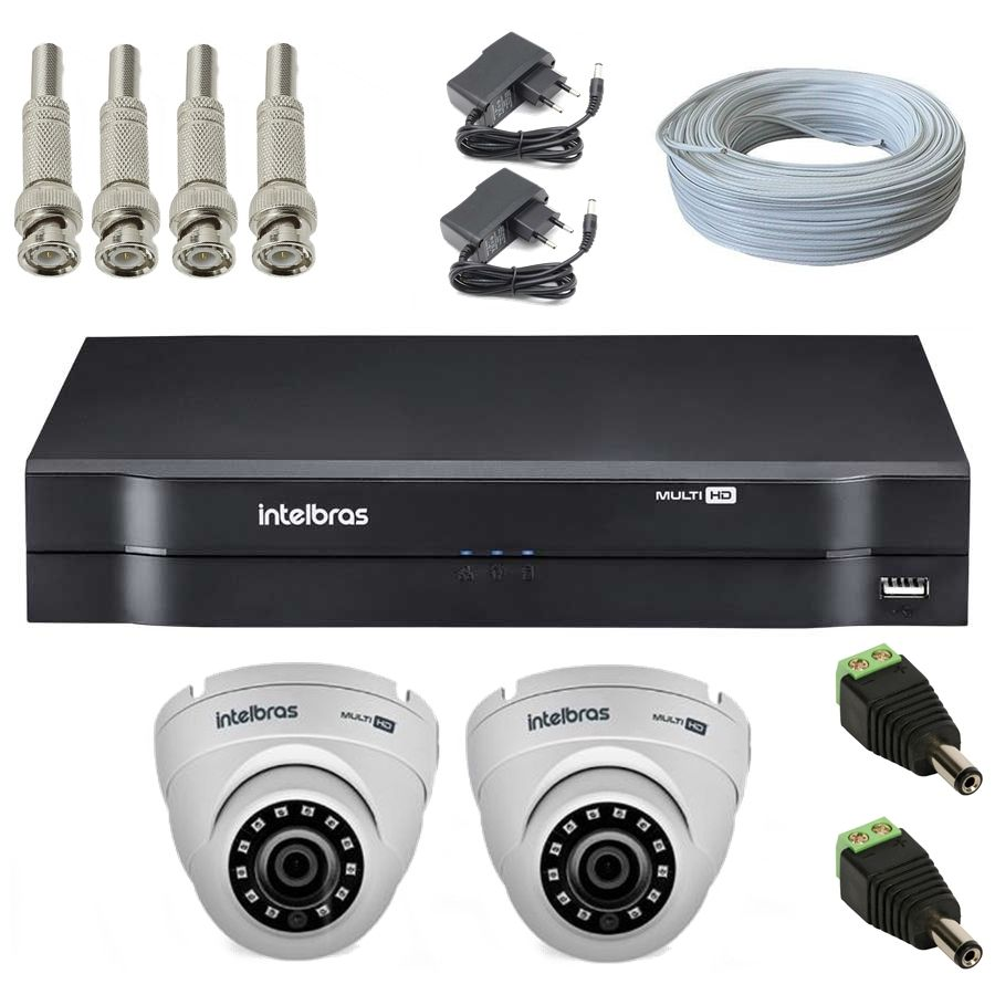 Kit 2 Câmeras de Segurança Dome Multi HD Intelbras VHD1010 G4 + DVR Intelbras MHDX1004 + Acessórios
