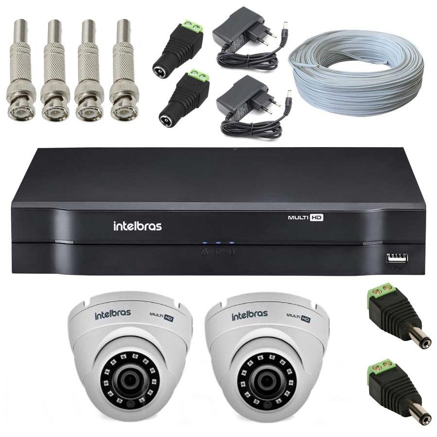 Kit 2 Câmeras de Segurança Dome Multi HD Intelbras VHD1010 G4 + DVR Intelbras 16 canais MHDX1016 + Acessório