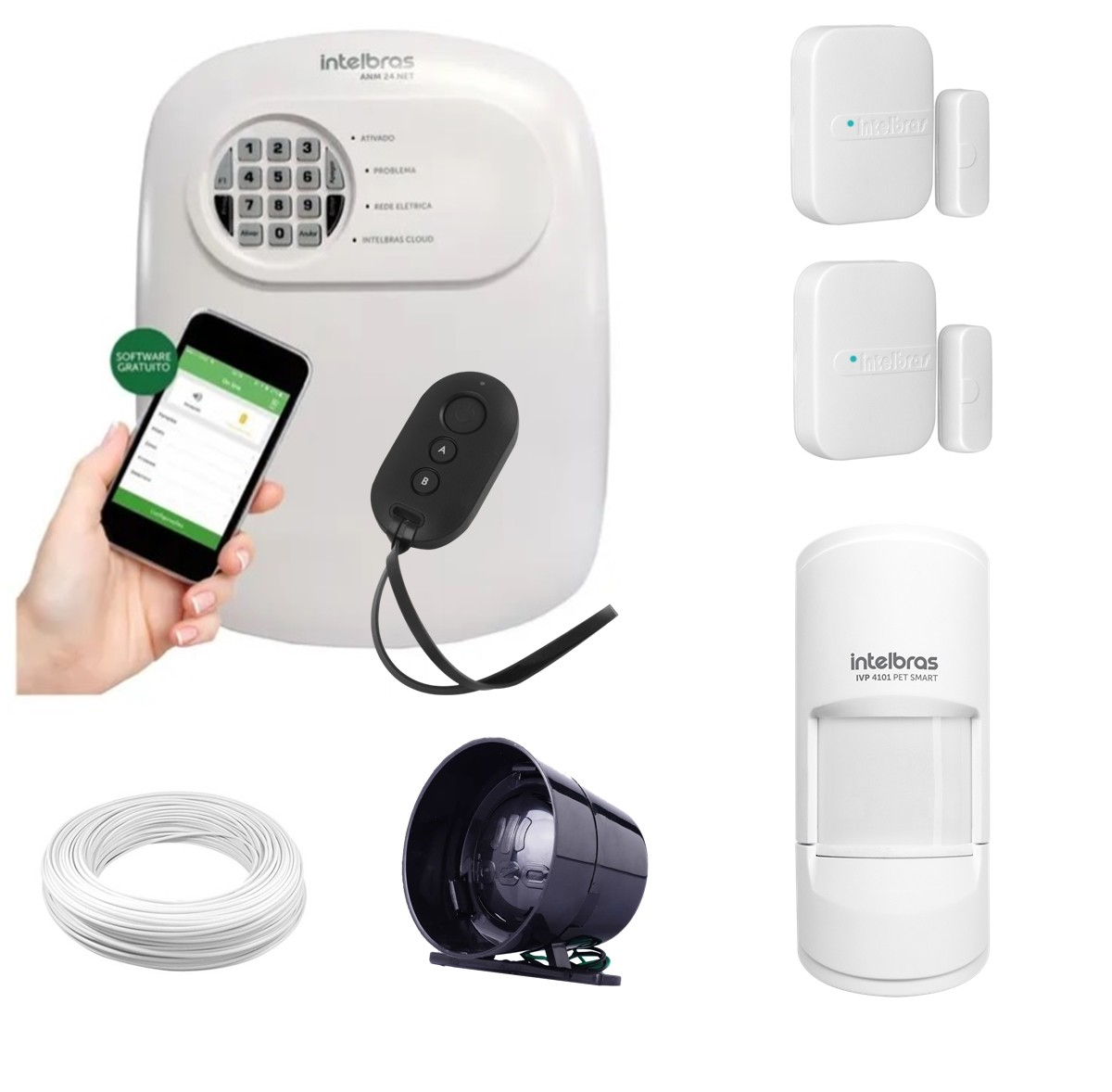 Kit alarme Intelbras ANM 24 Net monitoramento Via aplicativo + 1 sensor infra Pet sem fio e 2 sensores magnético sem fio