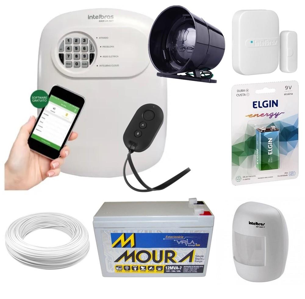 Kit alarme Intelbras ANM 24 Net monitoramento Via aplicativo +2 sensores sem fio + bateria 12v