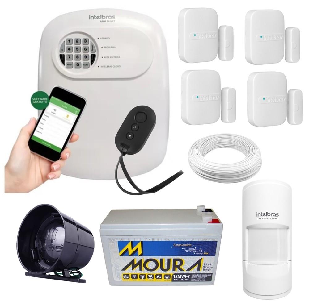 Kit alarme Intelbras ANM 24 Net monitoramento Via aplicativo + 5 sensores sem fio + bateria 12v