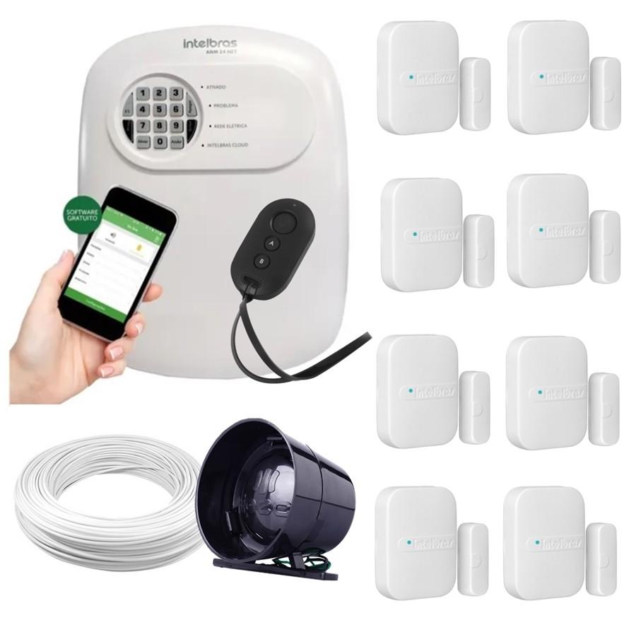 Kit alarme Intelbras ANM 24 Net monitoramento Via aplicativo + 8 sensores sem fio
