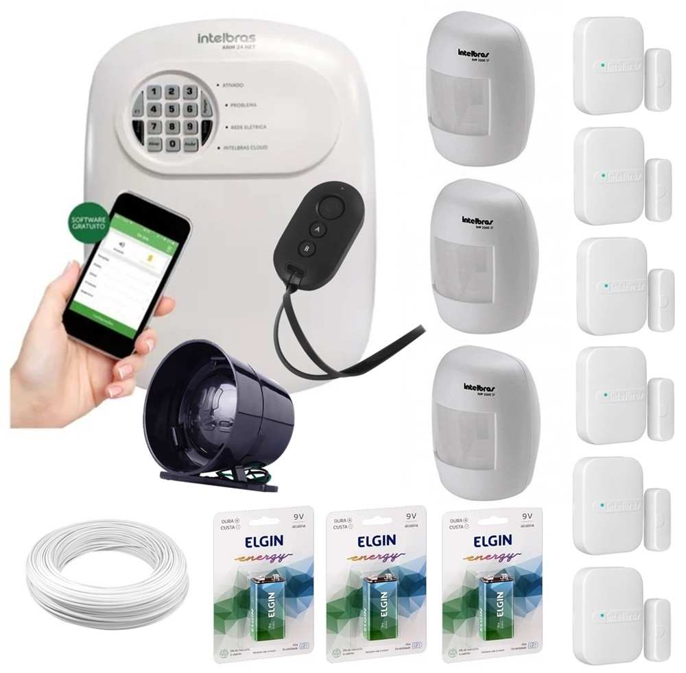 Kit alarme Intelbras ANM 24 Net monitoramento Via aplicativo + 9 sensores sem fio