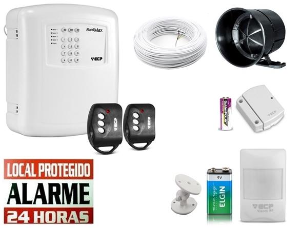 Kit alarme residencial Alard max 4 c/ discadora + 1 sensor infra s/ fio + 1 sensor magnético s/ fio - Marca ECP
