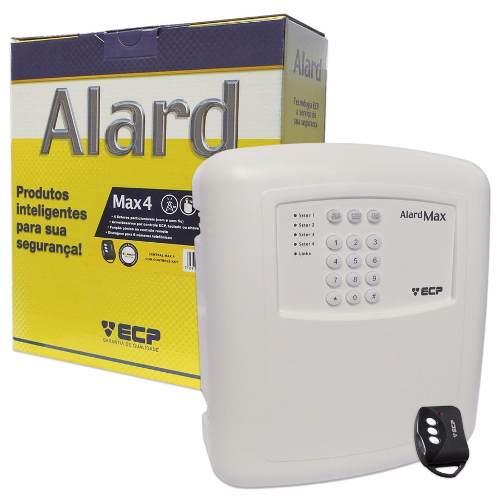 Kit alarme residencial Alard max 4 c/ discadora + 1 sensor infra s/ fio + 1 sensor magnético s/ fio - Marca ECP  - Esferatronic Comercio e Distribuição