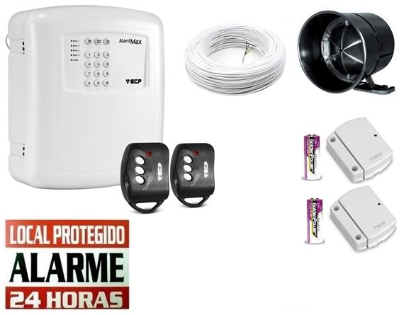 Kit alarme residencial Alard max 4 c/ discadora + 2 sensor magnético s/ fio - Marca ECP