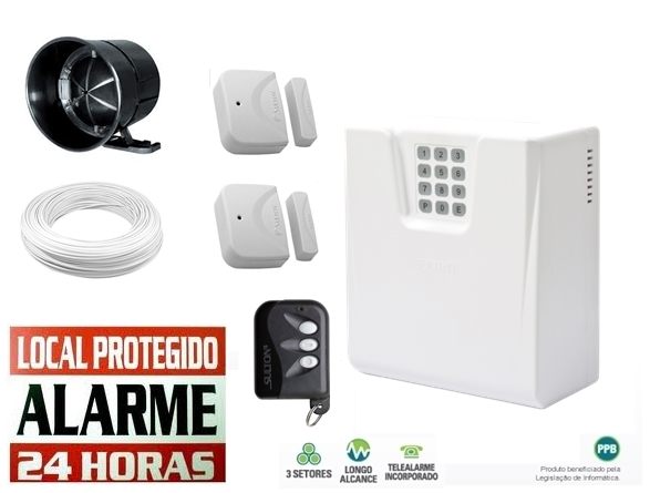 Kit alarme residencial/comercial CLS 1400 c/ discadora + 2 sensor magnetico s/ fio - Sulton