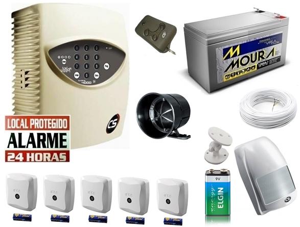 Kit alarme residencial supéria jr c/ discadora + 1 sensor infra s/ fio + 5 sensores magnético s/ fio + bateria 12v 7ah - Marca CS