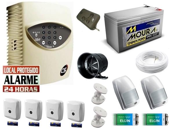 Kit alarme residencial supéria jr c/ discadora + 2 sensores infra s/ fio + 4 sensores magnético s/ fio + bateria 12v 7ah - Marca CS