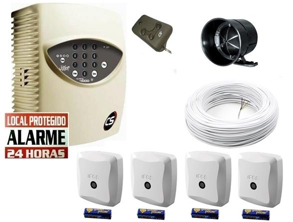 Kit alarme residencial supéria jr c/ discadora com 4 sensores magnético s/ fio - Marca CS