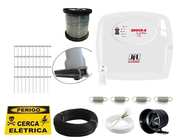 Kit cerca elétrica para 30 metros - Shock 8 plus com chave - JFL