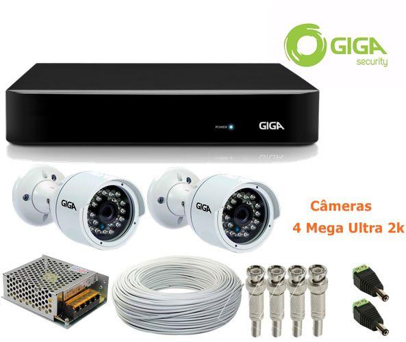 Kit CFTV 2 Câmeras de segurança 4 Mega Ultra HD 2K + DVR 8 Canais Giga GS08OPEN4Mi2 4 Mega Ultra HD 2k + Acessórios