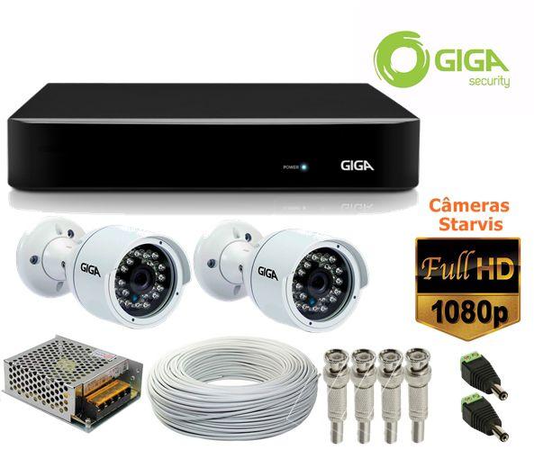 Kit 2 Câmeras Full HD 1080p STARVIS GS0052 + DVR 16 Canais Giga GS16OPEN4Mi2 Multi HD + Acessórios