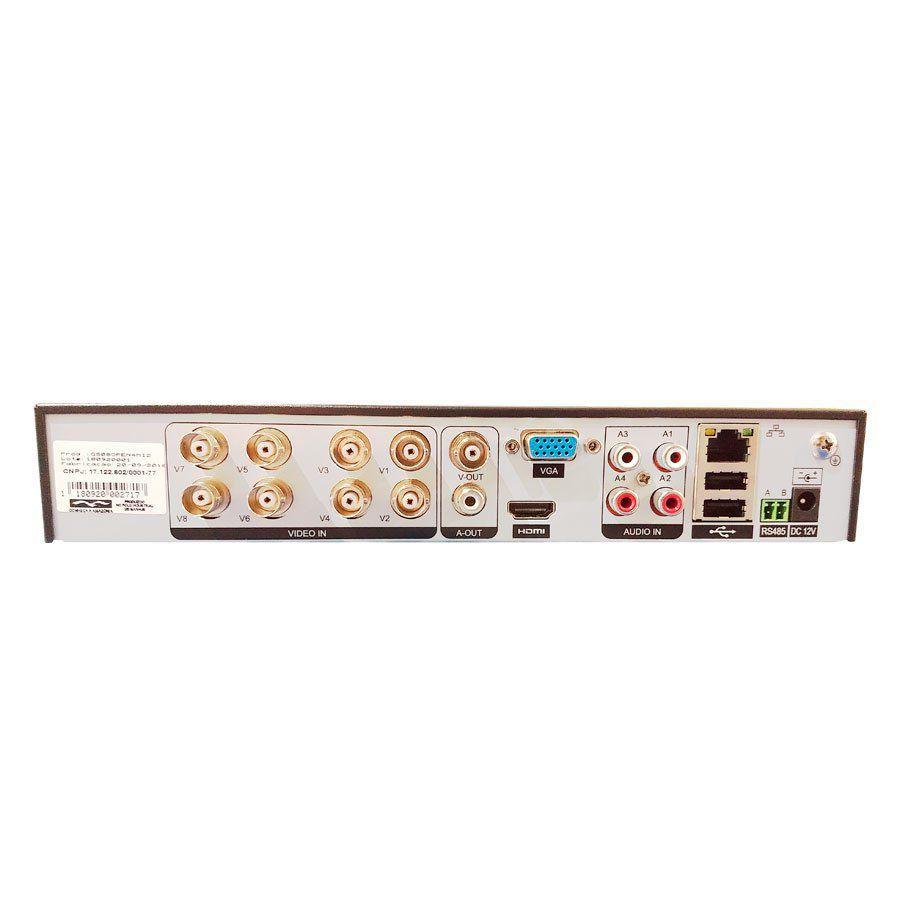 Kit CFTV 2 Câmeras Full HD 1080p STARVIS GS0052 + DVR 8 Canais Giga GS08OPEN4Mi2 4 Mega Ultra HD 2k + Acessórios