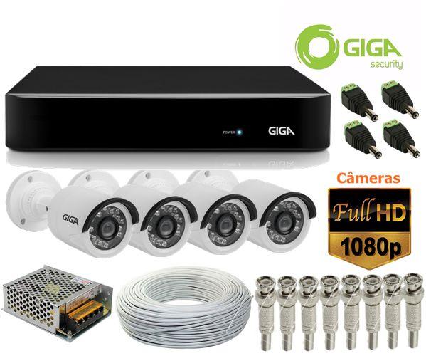 Kit CFTV 4 Câmeras de segurança FULL HD 1080p + DVR 8 Canais Giga GS08OPEN4Mi2 4 Mega Ultra HD 2k + Acessórios