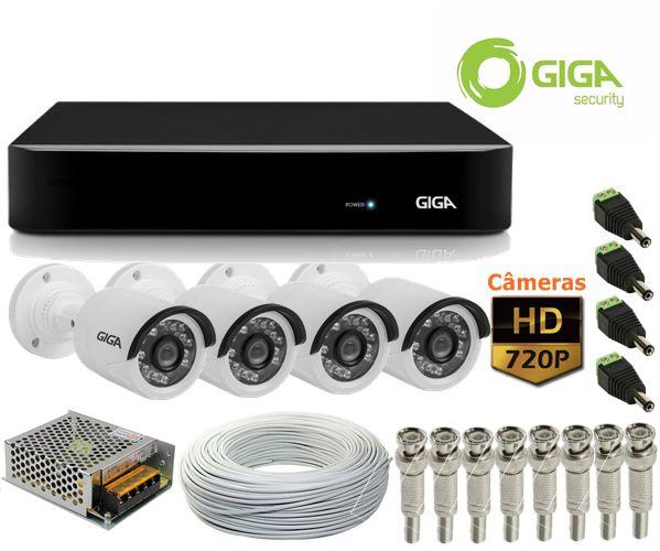 Kit 4 Câmeras de segurança HD 720p + DVR 4 Canais Giga GS04OPEN4Mi2 Multi HD + Acessórios