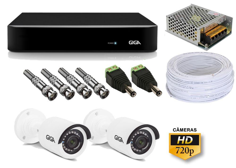 Kit DVR 4 Canais Giga FULL HD + 2 Câmeras de segurança Bullet HD 720p GS0020 + Acessórios