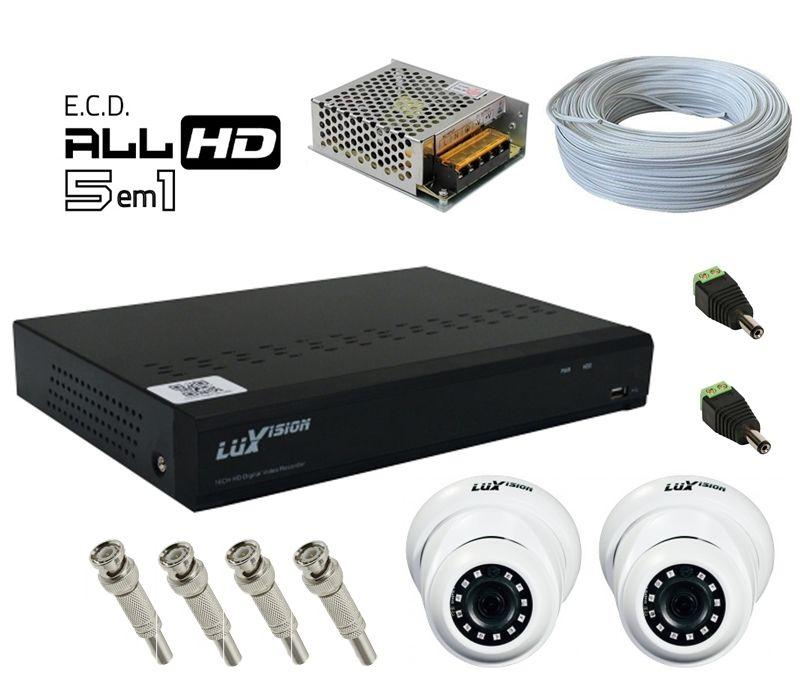 Kit DVR HVR All HD ECD 16 canais Luxvision + 2 Câmeras Dome Infra AHD 720p com Cabo, Fonte e Conectores