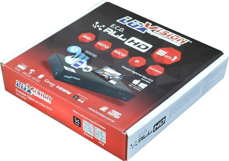 Kit DVR HVR All HD ECD 4 canais Luxvision + 2 Câmeras Bullet Infra AHD 720p com Cabo, Fonte e Conectores  - Esferatronic Comercio e Distribuição