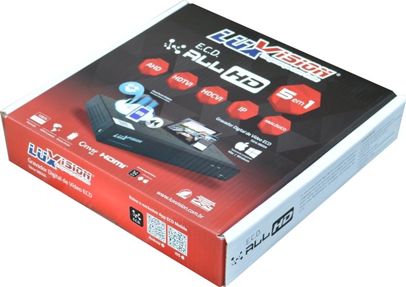 Kit DVR HVR All HD ECD 4 canais Luxvision + 2 Câmeras Dome Infra AHD 720p com Cabo, Fonte e Conectores