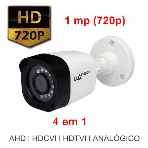 Kit DVR HVR All HD ECD 4 canais Luxvision + 4 Câmeras Infra Bullet AHD 720p com Cabo, Fonte e Conectores