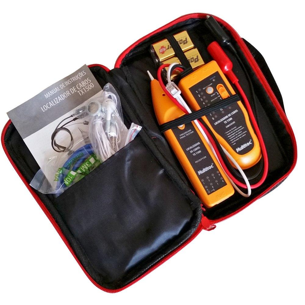 Kit Localizador e Testador de Cabos Zumbidor Ponteira Indutiva + Estojo Multitoc TX-1500  - Esferatronic Comercio e Distribuição