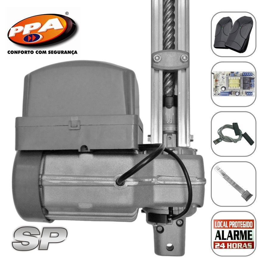 Kit motor portão eletrônico basculante potenza Predial SP 1/3 Hp (Fim de curso hibrido) - marca PPA