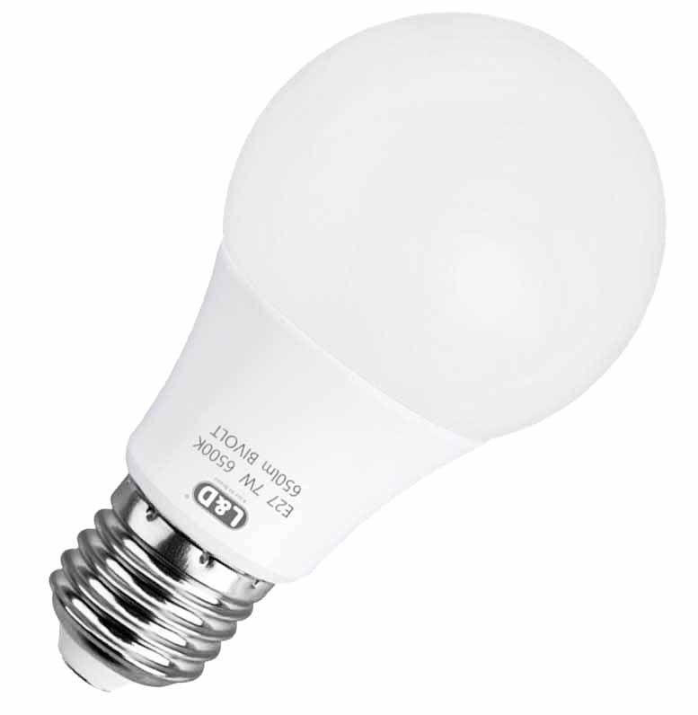 Lâmpada Super Led 7w Bulbo A60 6500K Branco frio E-27 Bivolt - L&D