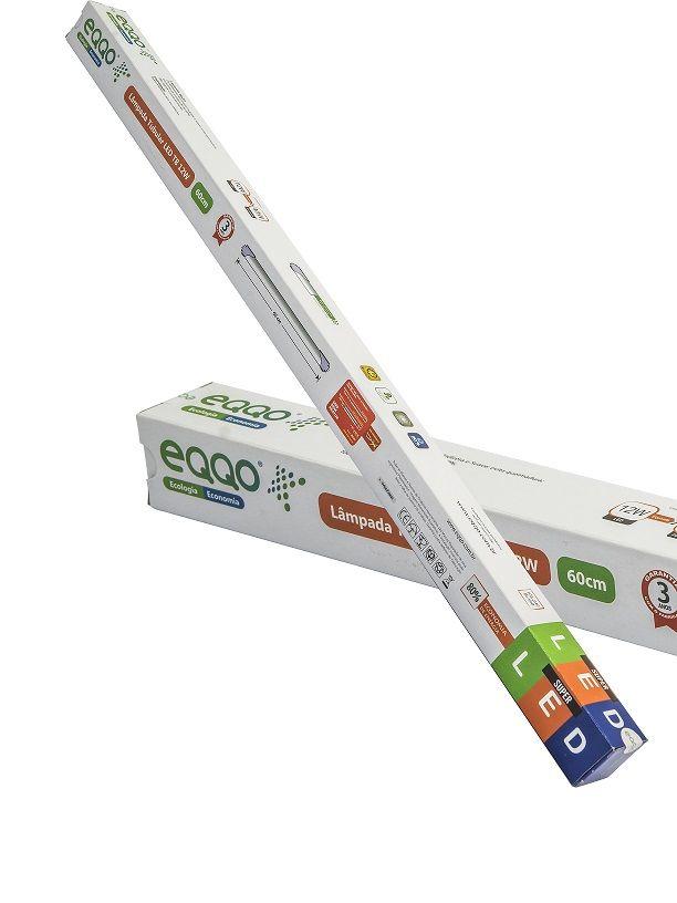 Lâmpada tubo Led 18W T8 6500K Branco frio Bivolt 1,20CM 1800LM Policarbonato Ligação 01 Lado - EQQO
