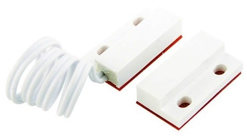 Mini sensor magnético de abertura com fio branco - Stilus  - Esferatronic Comercio e Distribuição