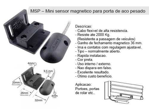 Mini sensor magnético para porta de aço e portões - Stilus
