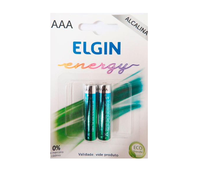 Pilha Alcalina palito AAA Elgin Energy LR03 1,5V (Blister C/2)