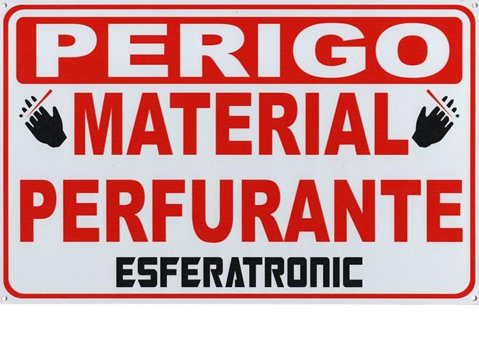 Placa de sinalização cerca ouriço/concertina ''Perigo Material perfurante''