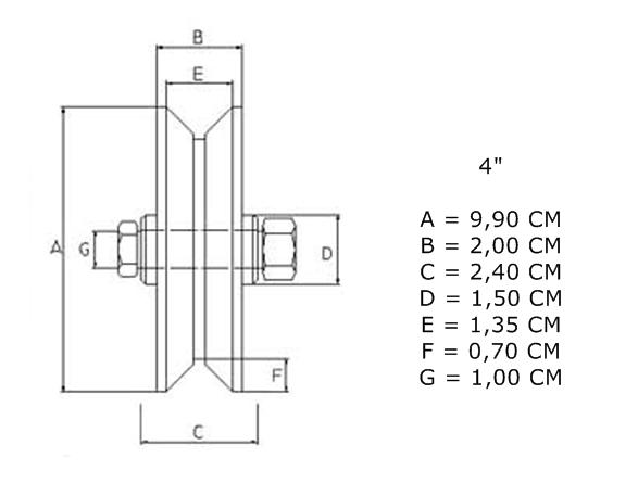Roldana canal em (V) de Nylon para Portão de Correr (Deslizante)  - Esferatronic Comercio e Distribuição