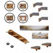 Nicho Gato - Kit Nicho para Gato - 17pçs  =  4 Nichos + 4 Prateleiras + 2 Escada + 3 Pontes + 4 Steps Para Gato em MDF de 15mm