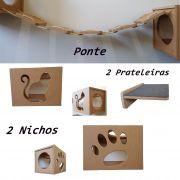 Nicho Gato - Kit 5 Peças = 2 Nichos + 2 Prateleiras+ Ponte Para Gatos - Nicho para Gato Pet Mdf 15mm