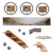 Kit 8 pçs = 3 Nichos + Prateleira + Comedouro + Escada grande + Escada pequena + Ponte para gato - Pet Mdf 15mm