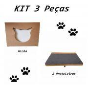 Nicho Gato - Kit Nicho para Gato - 3 peças = 1 Nicho + 2 Prateleiras Gato Em Mdf 15mm